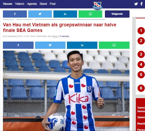 Báo Hà Lan ca ngợi 1 điều về Đoàn Văn Hậu sau trận hoà của U22 Việt Nam - Bóng Đá