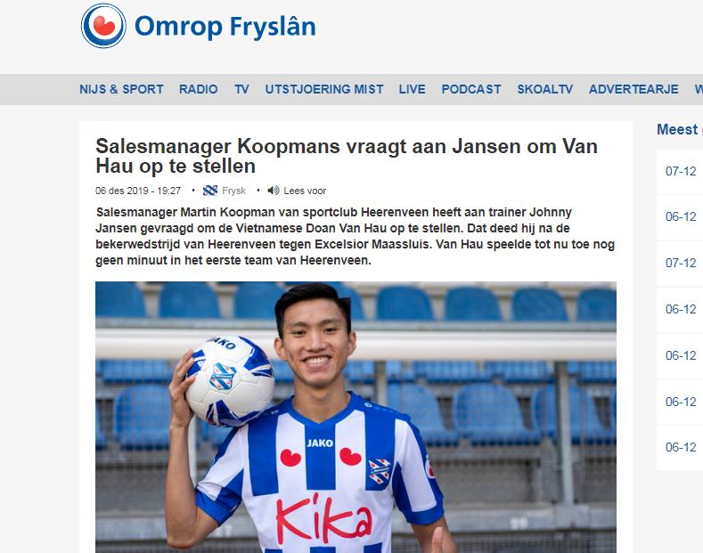 Cùng U22 Việt Nam vào Chung kết, Đoàn Văn Hậu nhận 1 tin cực vui từ SC Heerenveen - Bóng Đá