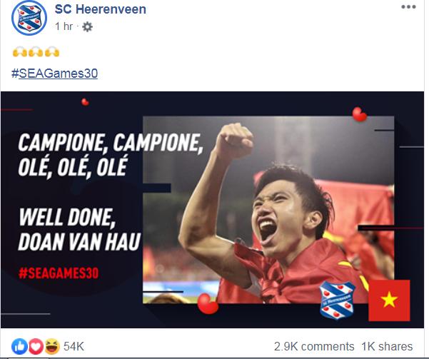 SC Heerenveen gửi thông điệp đến Đoàn Văn Hậu sau khi đoạt HCV SEA Games - Bóng Đá