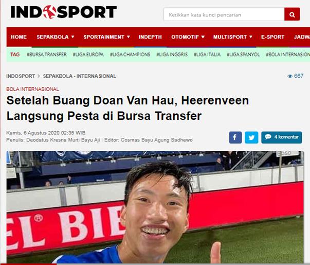 Báo Indonesia cay cú, mỉa mai việc Đoàn Văn Hậu chia tay SC Heerenveen - Bóng Đá