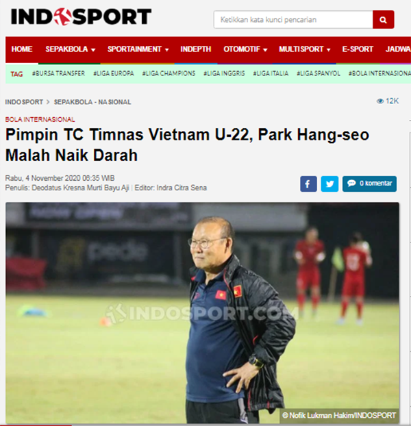 """Nc247info tổng hợp: Báo Indo: """"E ngại U19 Indonesia, ông Park cho U22 Việt Nam tập giáo án lạ"""""""