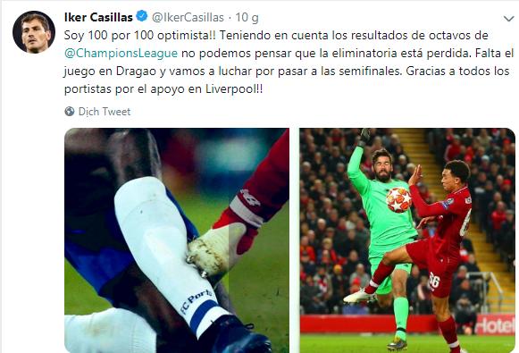 Không phục Liverpool, Casillas có hành động