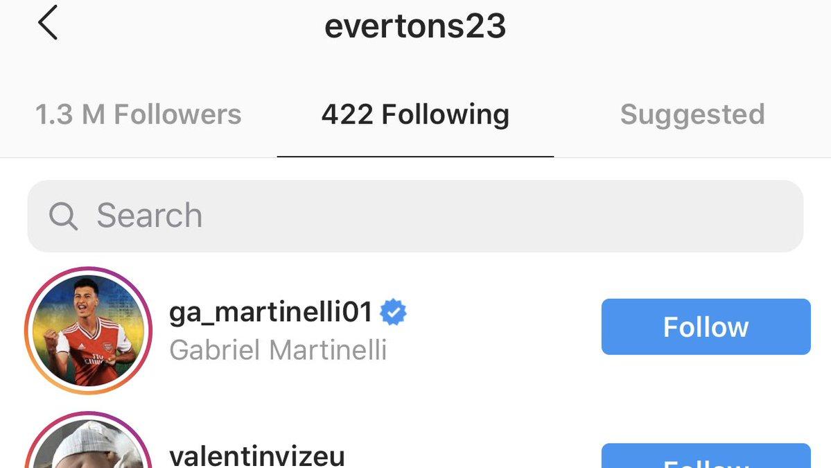 Everton Soares has started following Gabriel Martinelli on Instagram - Bóng Đá