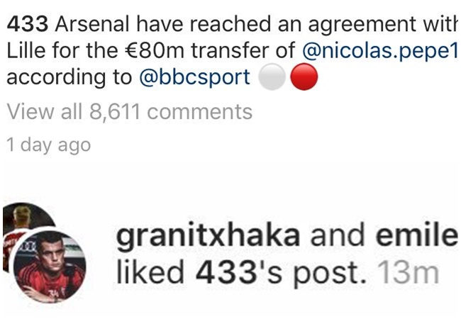 Granit Xhaka and Emile Smith-Rowe like a picture of Pepe photoshopped in an Arsenal shirt. - Bóng Đá