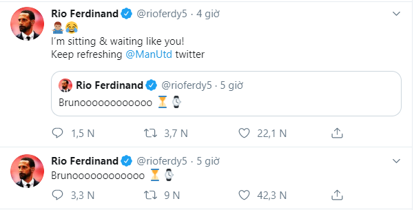 Rio Ferdinand sends Manchester United fans into meltdown with Bruno Fernandes tweet - Bóng Đá