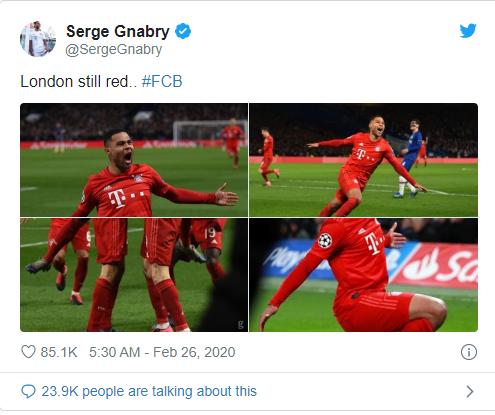 Serge Gnabry trolls Chelsea after Bayern Munich's Champions League win - Bóng Đá