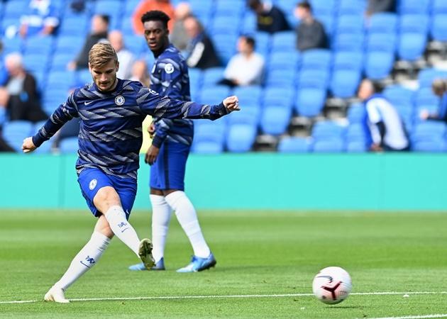 """Timo Werner đã ghi bàn thắng đầu tiền cho Chelsea chỉ sau 4 phút thi đấu. Bản năng """"sát thủ"""" của cựu sao RB Leipzig giúp anh thành mối hiểm họa cho các hàng phòng ngự tại EPL mùa tới."""