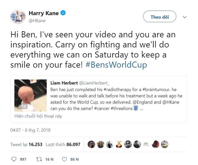 Harry Kane hứa chiến thắng Thụy Điển để làm quà tặng cậu bé bị ung thư - Bóng Đá