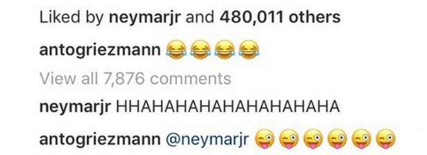 Neymar cười 'té ghế' trước kiểu tóc mới của Griezmann - Bóng Đá