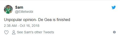 De Gea bị ném đá trên Twitter - Bóng Đá