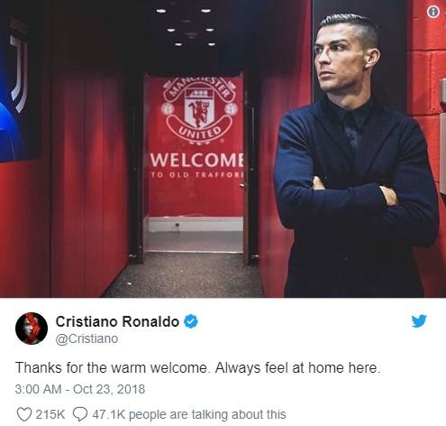 CĐV M.U tan chảy vì Ronaldo tweet về M,U - Bóng Đá