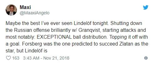 Ghi siêu phẩm, Lindelof được tôn là Ibra mới - Bóng Đá
