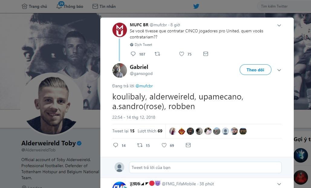 Alderweireld like tweet đến M.U - Bóng Đá