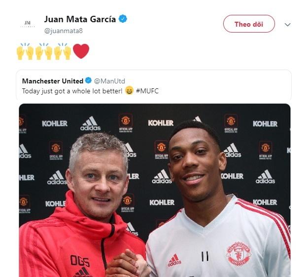 Phản ứng của Mata về việc Martial được gia hạn - Bóng Đá