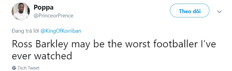 Fan Chelsea chỉ trích Barkley - Bóng Đá