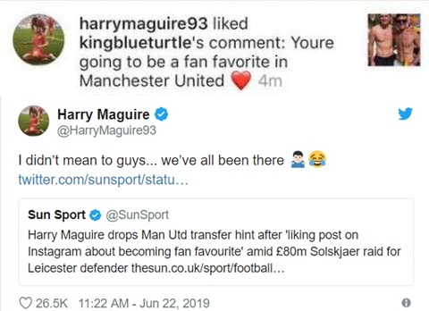 'We've all been there!' - Maguire explains Manchester United social media faux pas - Bóng Đá