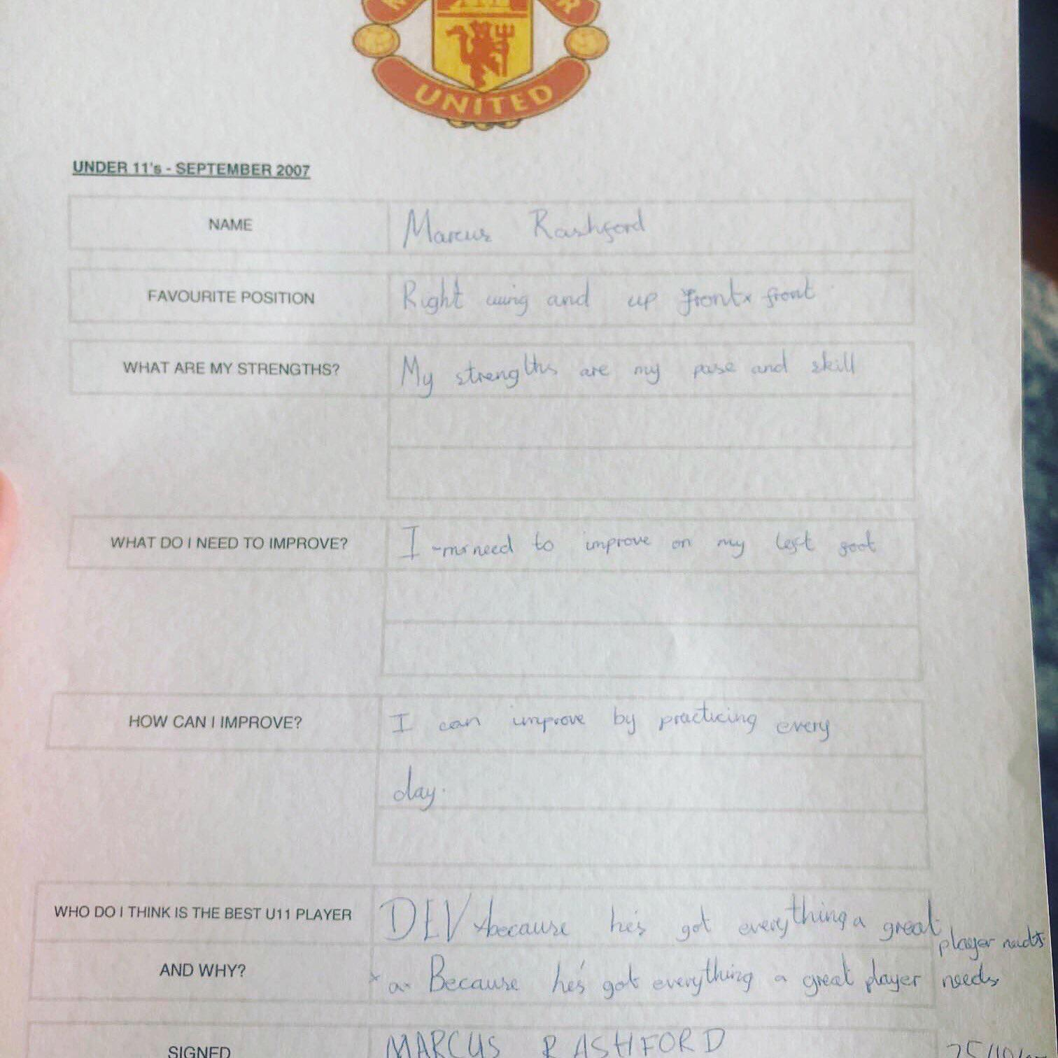 Read Rashford's Man Utd report card from age 10 as he reveals his strengths, weaknesses and best player in the team - Bóng Đá