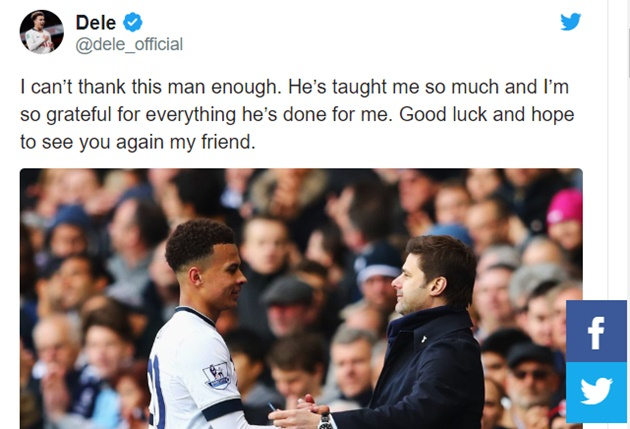 Dele Alli 'grateful' to sacked Tottenham boss Mauricio Pochettino   - Bóng Đá