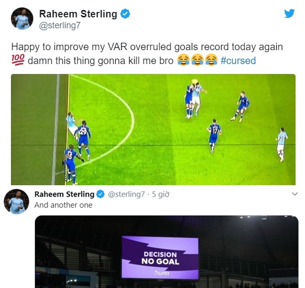 Raheem Sterling makes brilliant joke after VAR disallows yet another Man City goal - Bóng Đá