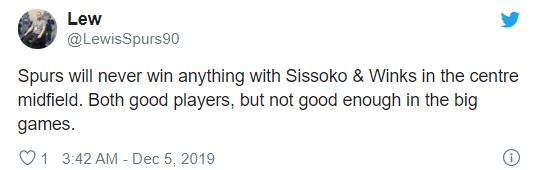 Tottenam fans react to Moussa Sissoko and Harry Winks' displays against Manchester United - Bóng Đá