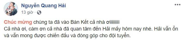 Quang Hải đăng facebook - Bóng Đá