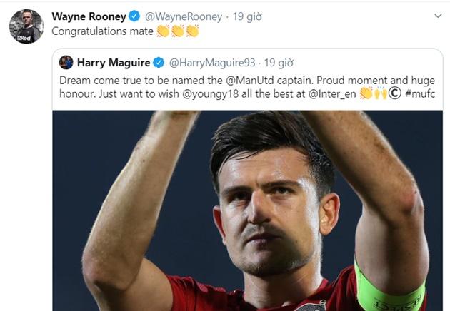 Rooney đăng twitter chúc mừng Maguire - Bóng Đá