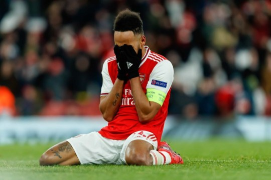 Pierre-Emerick Aubameyang blames tiredness and muscle cramps for his miss as Arsenal crash out to Olympiacos in the Europa League / - Bóng Đá