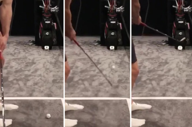 Golf fanatic Bale uses time off from football to finesse his putting as he sinks outrageous trick shot - Bóng Đá