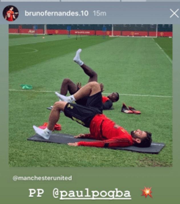 Bruno Fernandes sends message to Paul Pogba after first training session together  - Bóng Đá