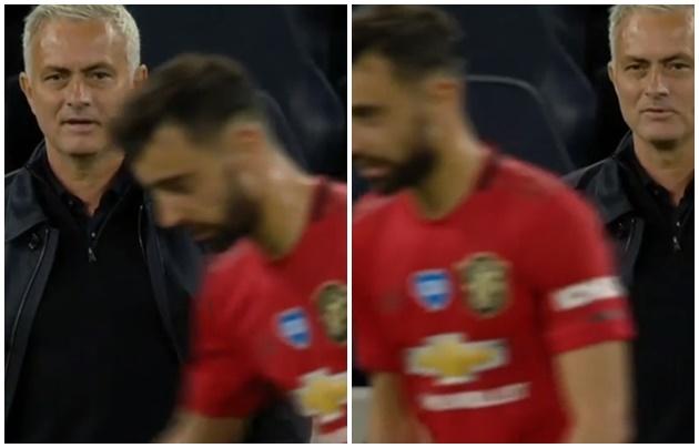 Jose Mourinho Enjoys Cheeky Exchange With Bruno Fernandes - Bóng Đá
