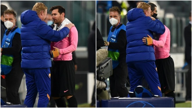 The hug with a message from Koeman to Messi - Bóng Đá