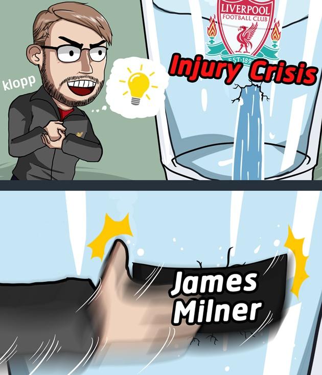 Trent Alexander-Arnold không thể góp mặt, HLV Jurgen Klopp quyết định kéo ngôi sao đa năng James Milner trám vào vị trí hậu vệ phải.