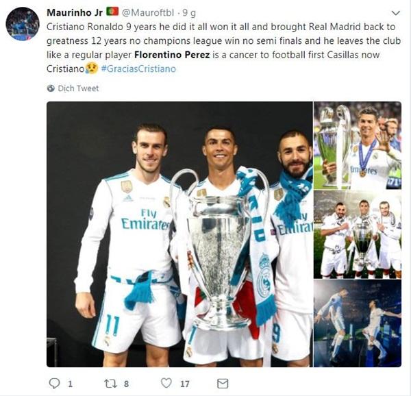 CĐV phấn khích vì Perez bán Ronaldo với giá hời - Bóng Đá