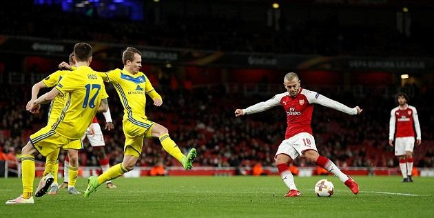 Thua Man Utd, Arsenal trút giận lên BATE Borisov với một