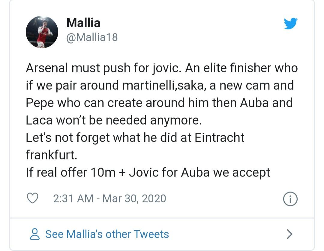 arsenal fans react to jovic - Bóng Đá