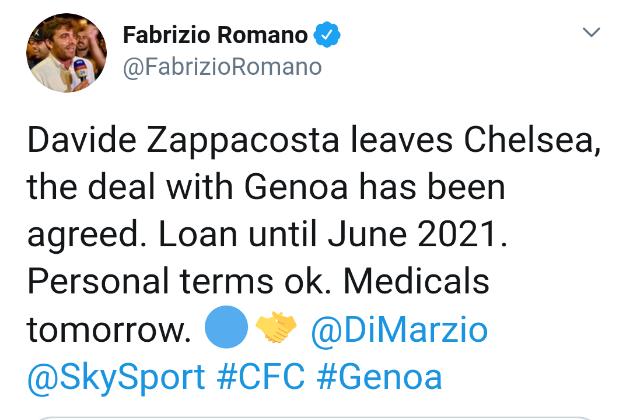 Zappacosta joins Genoa - Bóng Đá
