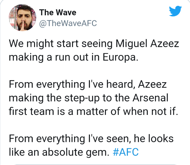Arsenal fans react as Miguel Azeez makes Gunners' B list squad - Bóng Đá