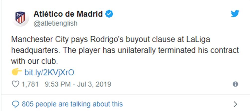 Attetico đến tiếng bán Rodri cho Man City - Bóng Đá