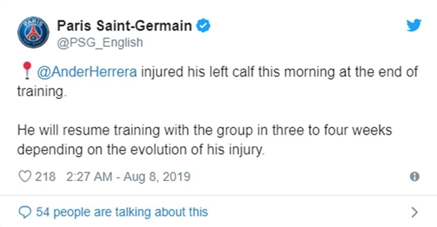 PSG's Herrera out 3-4 weeks with calf injury - Bóng Đá