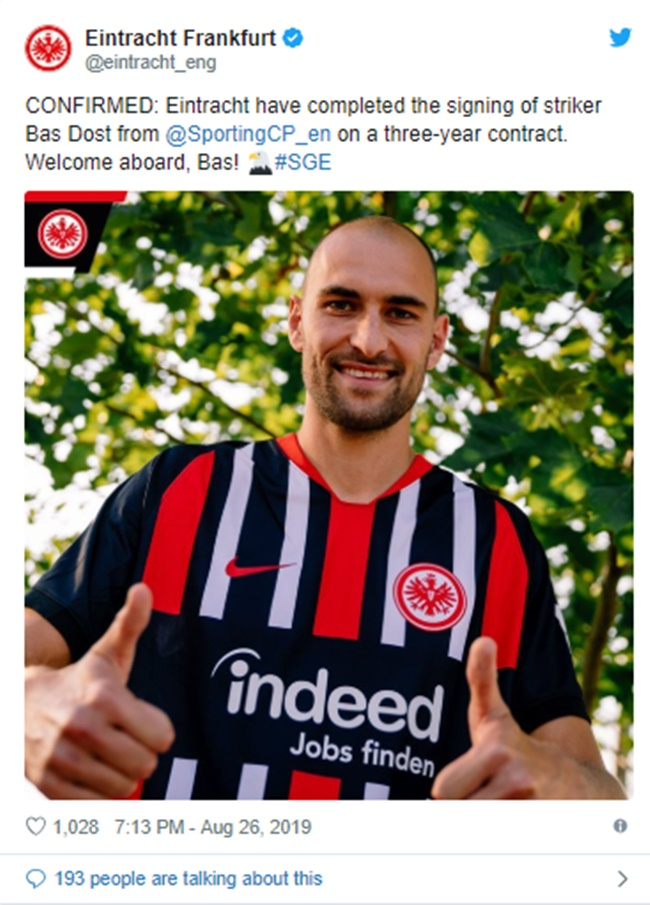 Dost completes €7m move to Eintracht Frankfurt from Sporting - Bóng Đá