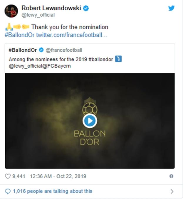 Bayern Munich's Robert Lewandowski on 2019 Ballon d'Or shortlist - Bóng Đá