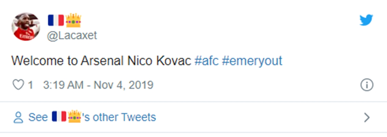 """Welcome to Arsenal"" – these Gunners fans adamant club will replace Emery with Kovac - Bóng Đá"