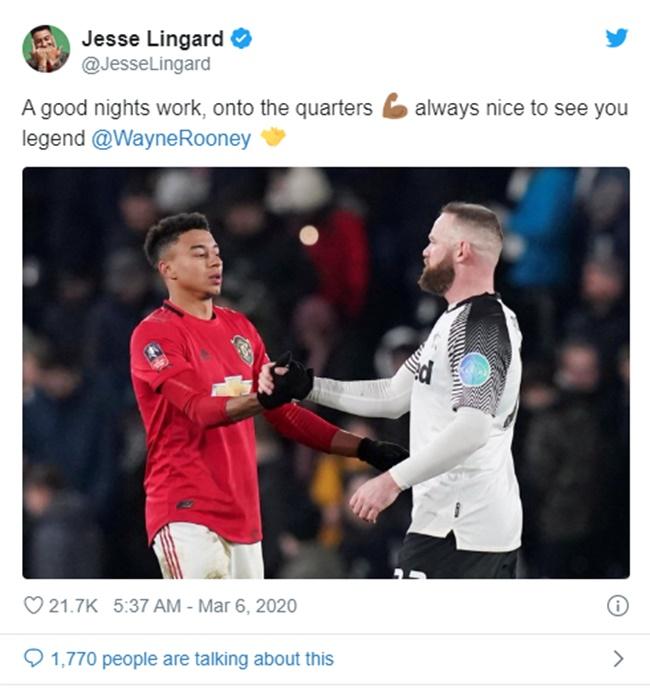 Jesse Lingard sends message to Wayne Rooney after Man Utd beat Derby - Bóng Đá