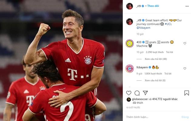 Động thái đầu tiên của Lewandowski trên MXH sau khi khuất phục Chelsea