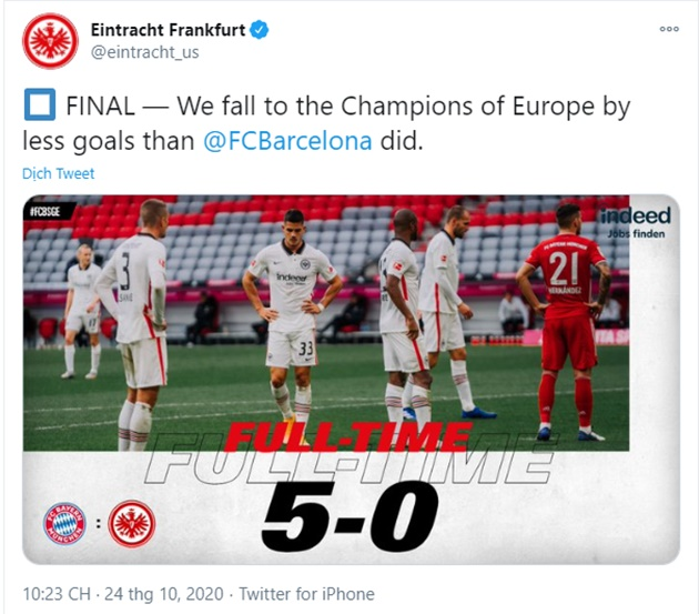 Thua trắng 5 bàn, nạn nhân của Bayern Munich không quên