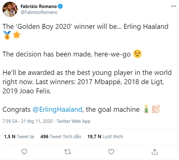 The 'Golden Boy 2020' winner will be... Erling Haaland - Bóng Đá