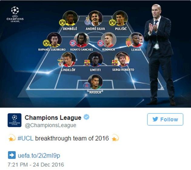 """Lindelof lọt đội hình """"sao mai"""" gây ấn tượng tại Champions League 2016"""