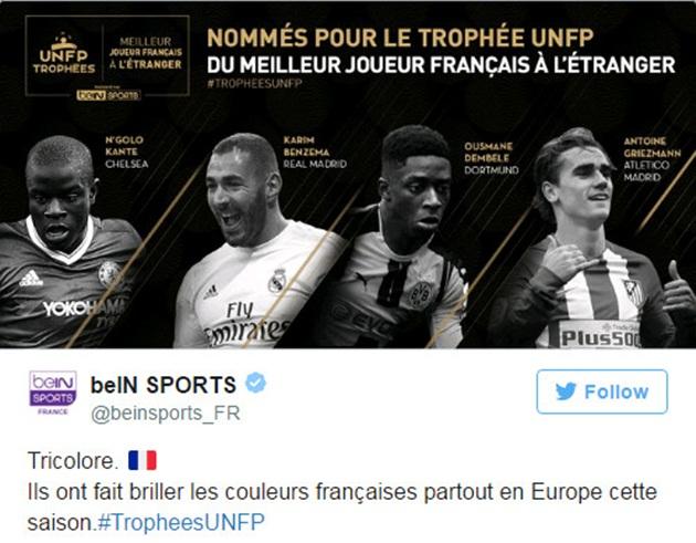 Cầu thủ Pháp hay nhất năm: Kante đọ tài Griezmann, bất ngờ Dembele