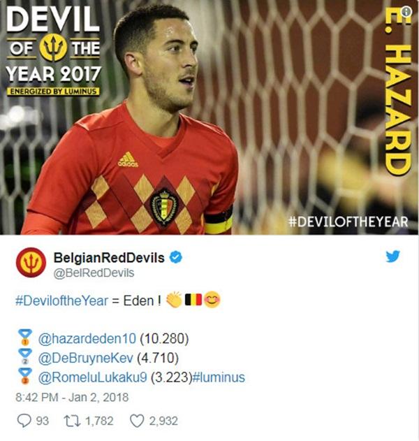 Vượt mặt Lukaku và De Bruyne, Hazard xuất sắc nhất nước Bỉ - Bóng Đá