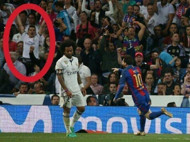 Fan Real gây sốc khi ăn mừng bàn thắng của Messi tại Bernabeu